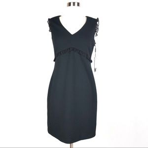 KARL LAGERFELD sheath dress black ruffled textured